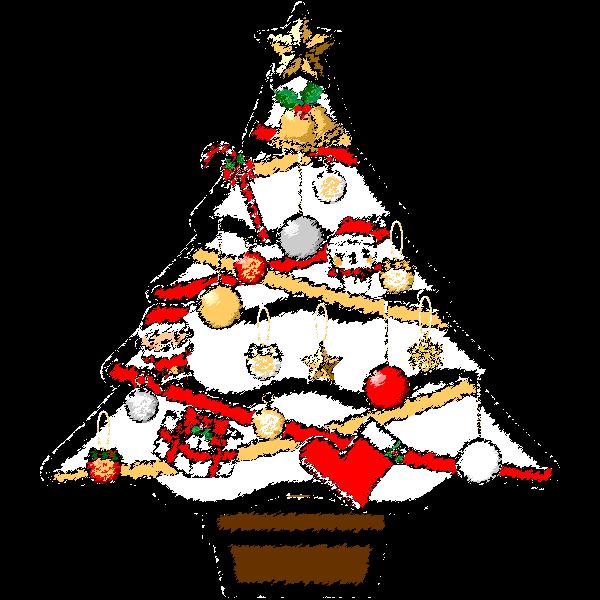手書き風でかわいい白いクリスマスツリーの無料イラスト商用