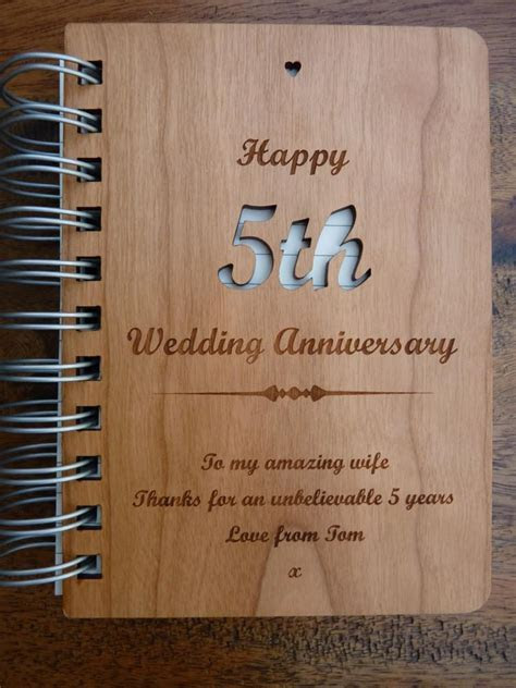 Personalised Wooden 5th Wedding Anniversary Journal