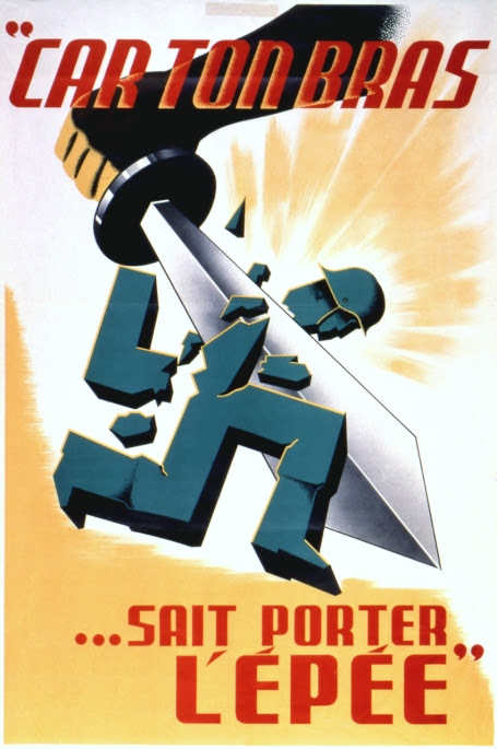This propaganda poster depicts an arm wielding a sword to cut off the head