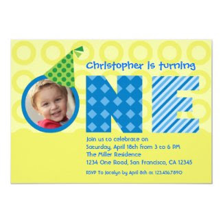 "First Birthday ""One"" Photo Invitation 5"" X 7"" Invitation Card"