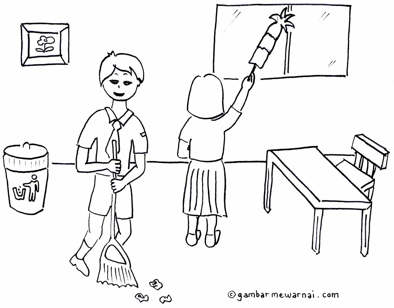 Gambar Mewarnai Kebersihan Lingkungan Sekolah Gambar