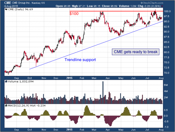 1-year chart of CME (NASDAQ: CME)