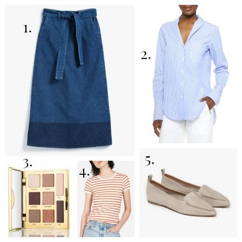 NSCO Skirt - Rag and Bone Shirt - Tarte Eyeshadow - Everlane Tee - Jeffrey Campbell Flats
