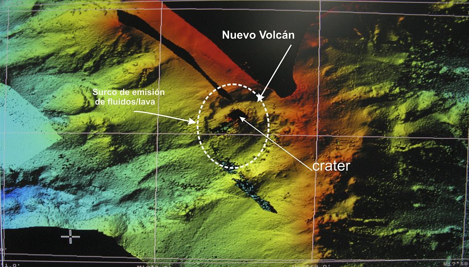 Threatening: A computer-generated image shows the underground volcano off the southern-most Canary Island