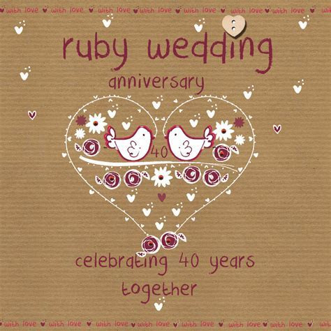 Ruby Wedding Anniversary Card   Karenza Paperie