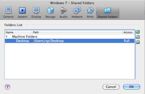 Adding a Shared Folder between Mac OS X and Windows 7
