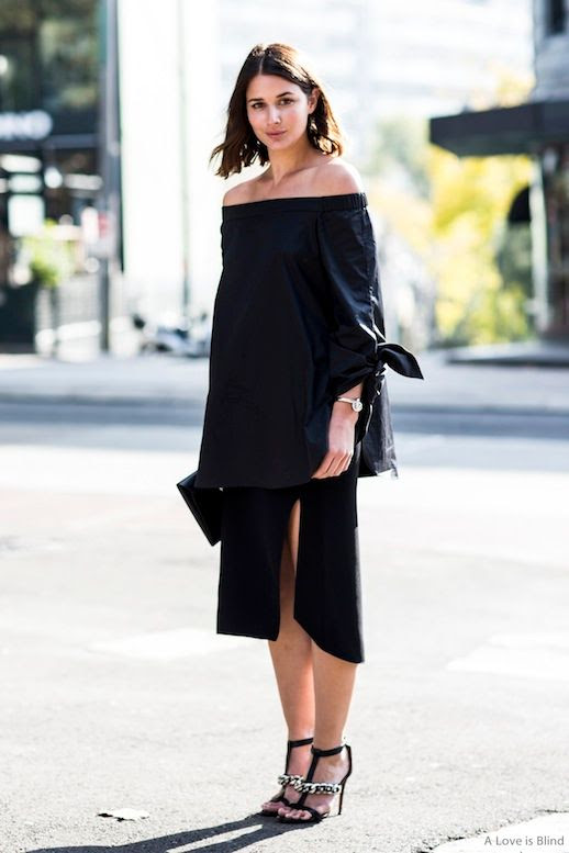 25 Le Fashion 31 Stylish Ways To Wear An Off The Shoulder Look Navy Tibi Top Sara Donaldson Harper Harley Via A Love Is Blind