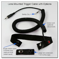 LT1005: Lens Mounted Trigger Cable w/ Options: Safety Clip, Coiled Cable, Large Lens Extension