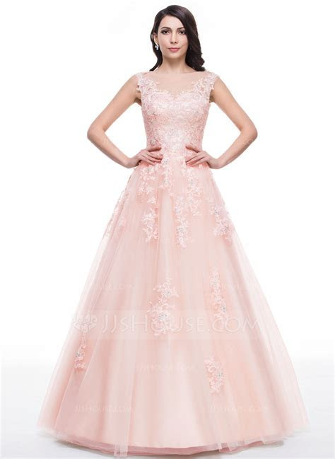 Ball Gown Scoop Neck Floor Length Tulle Prom Dresses With