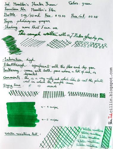 Noodler's Hunter Green - Photocopy