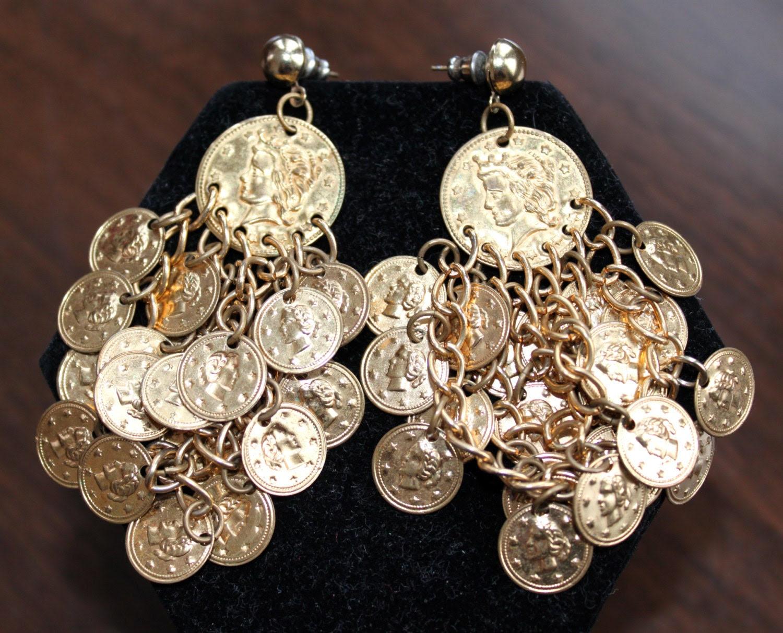 1970s Gypsy Gold Coin Dangle Earrings