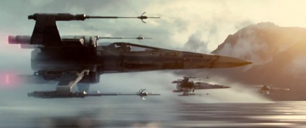 Three X-Wings skim the water as they head towards their target in STAR WARS: THE FORCE AWAKENS.