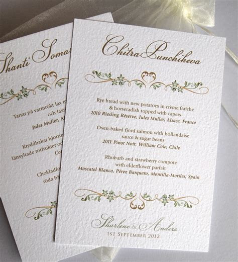 Personalised Menu Cards ? individual menus printed with