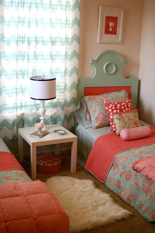 coral, pink, and blue....love these colors. And really love the headboards.