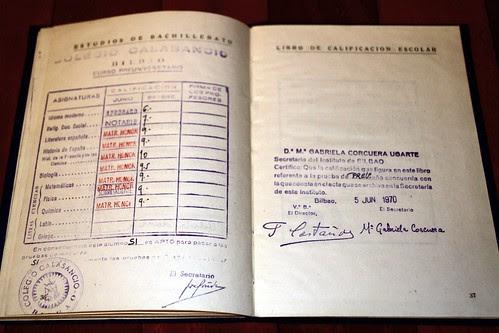 Notas de Preuniversitario, en 1970