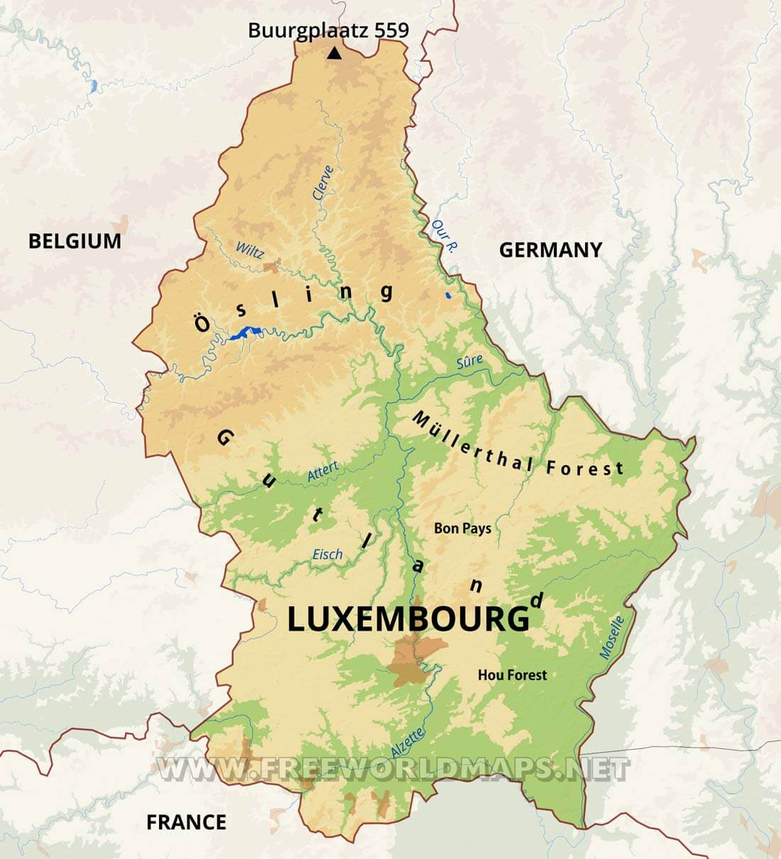 luxembourg physical map