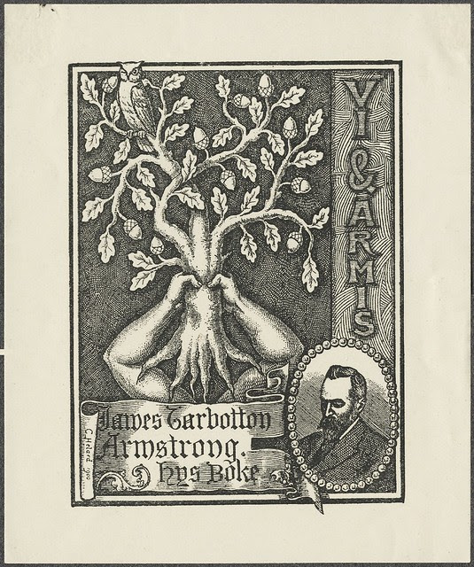ex libris engraving : owl atop a tree held aloft by human arms