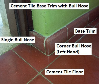 Cement Tile Base Trim Showing Single and Corner bullnose