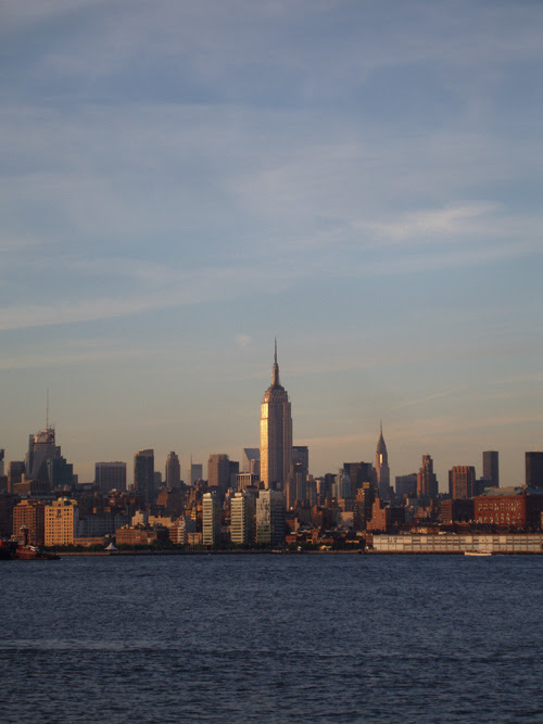 sunset on the Hudson River and the Empire State Building, NYC