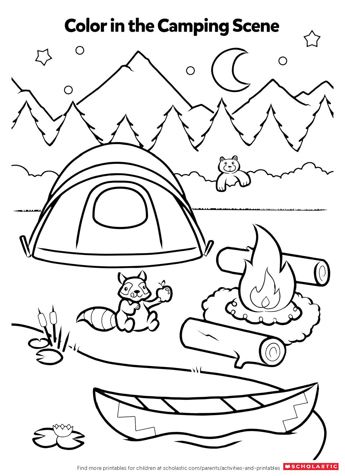 Campfire Coloring Activity | Worksheets & Printables ...