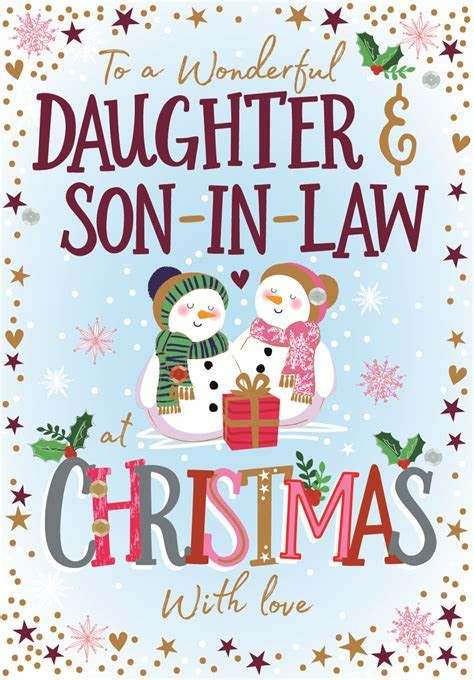 Daughter & Son In Law Embellished Christmas Greeting Card