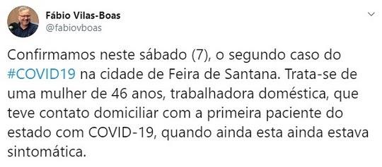 Secretaria de Saúde da Bahia confirma segundo caso de coronavírus no estado | Foto: Reprodução/Redes Sociais