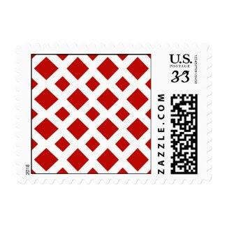 Red Diamonds on White Stamp