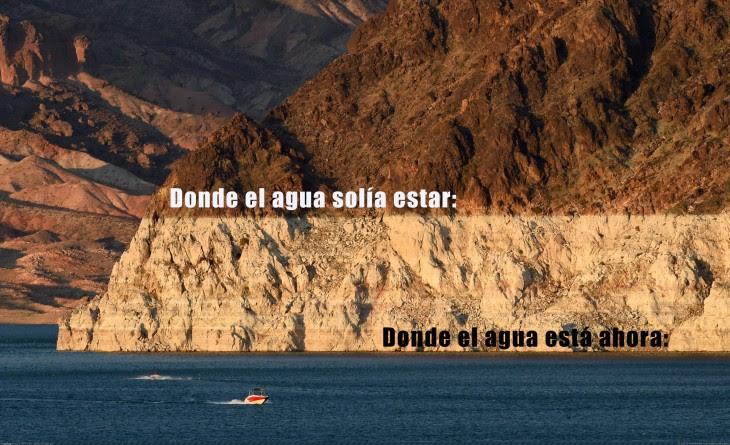fotografía del lago mead que muestra el descenso del nivel del agua
