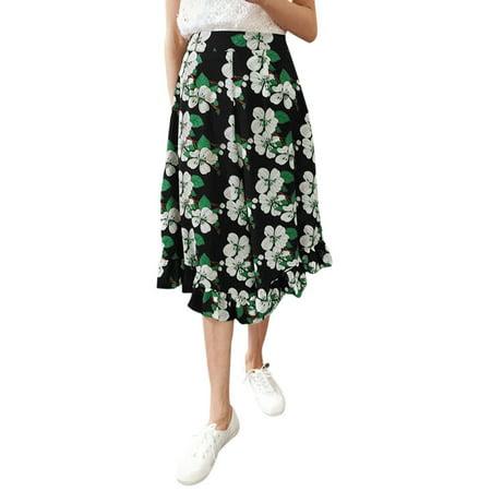 Women's Mid Rise Elastic Waist Flouncing Cuffs Capris Wide Leg Pants (Size XS \/ 2)