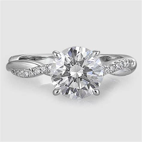 18K White Gold Petite Twisted Vine Diamond Ring // Set
