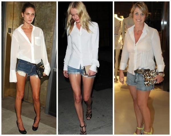 look Camisa branca + short jeans