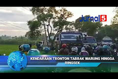 Di Duga Rem Blong, Kendraan Tronton Pengangkut Air Mineral Tabrak Warung