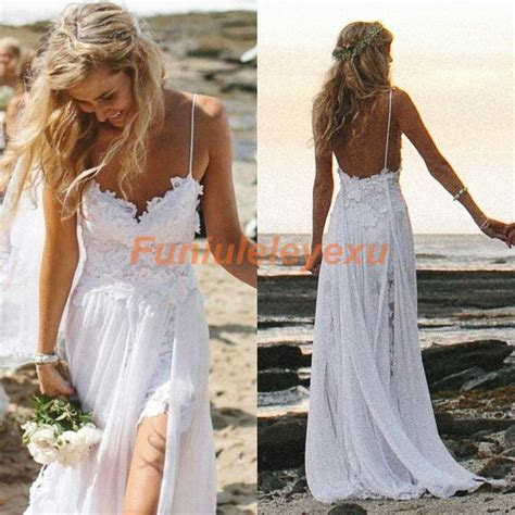 Sexy New Spaghetti Backless Beach Wedding Dresses Summer