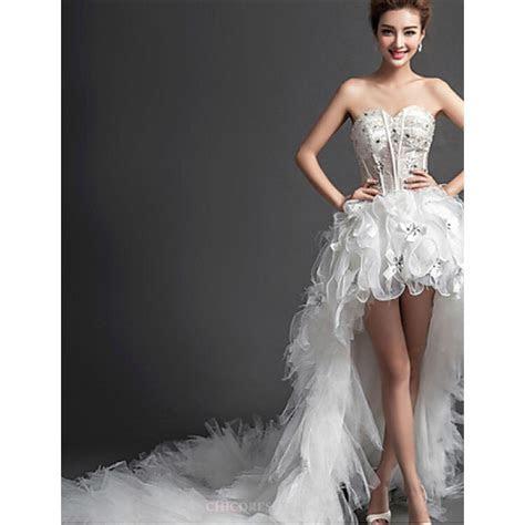 A line Asymmetrical Wedding Dress   Sweetheart Tulle,Cheap