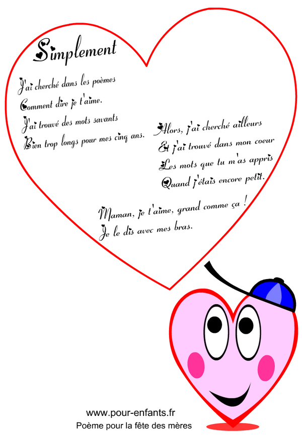 Poeme fete des meres, fete des mamans. Poemes pour maman à imprimer.