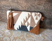 Oregon Wool clutch pouch with leather trim Steel Blue and Camel colors --Ready to Ship-- - cindymars7