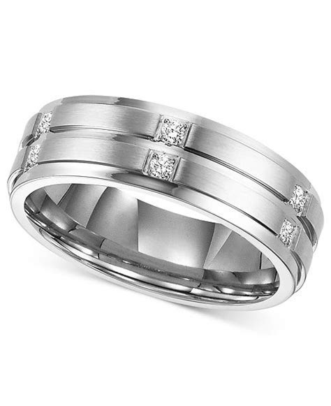 Triton Men's Diamond Wedding Band Ring in Stainless Steel