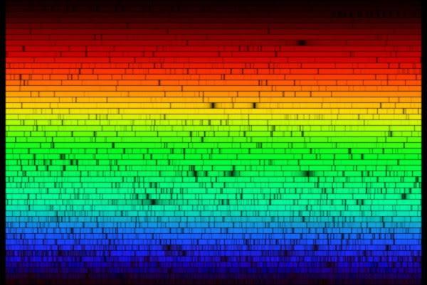 solar spectrum:http://en.wikipedia.org/wiki/Image:High_Resolution_Solar_Spectrum.jpg