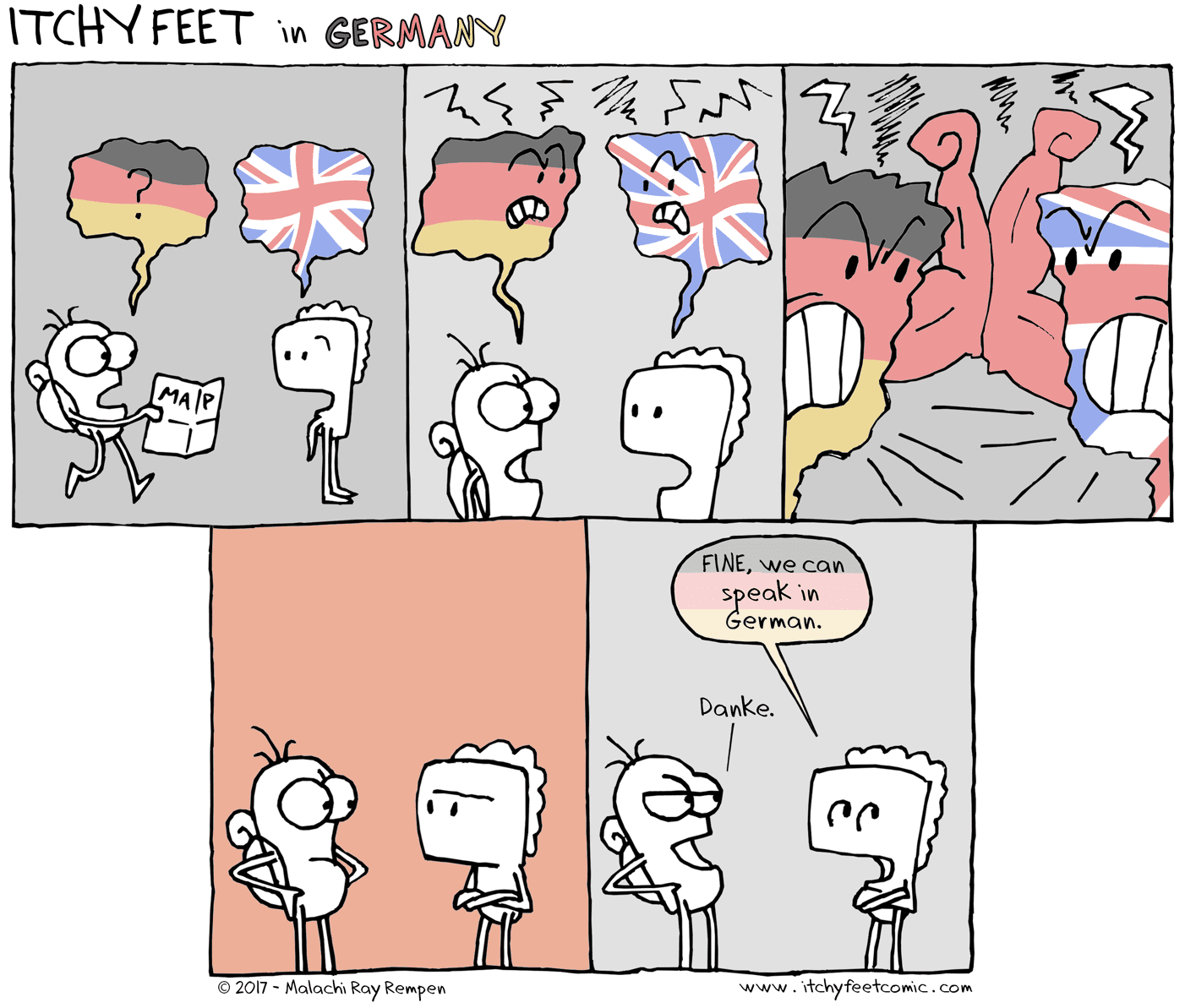 You have to force Germans not to speak English