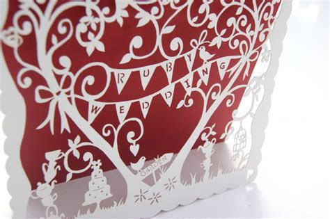 Laser cut whimsical Ruby Wedding Invitations   Hummingbird