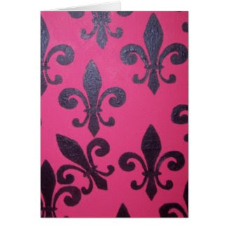 Pink Fleur De Lis Happy Birthday Greeting Cards
