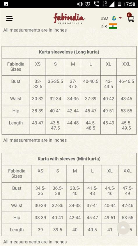 fabindia sizes measurement chart size chart chart