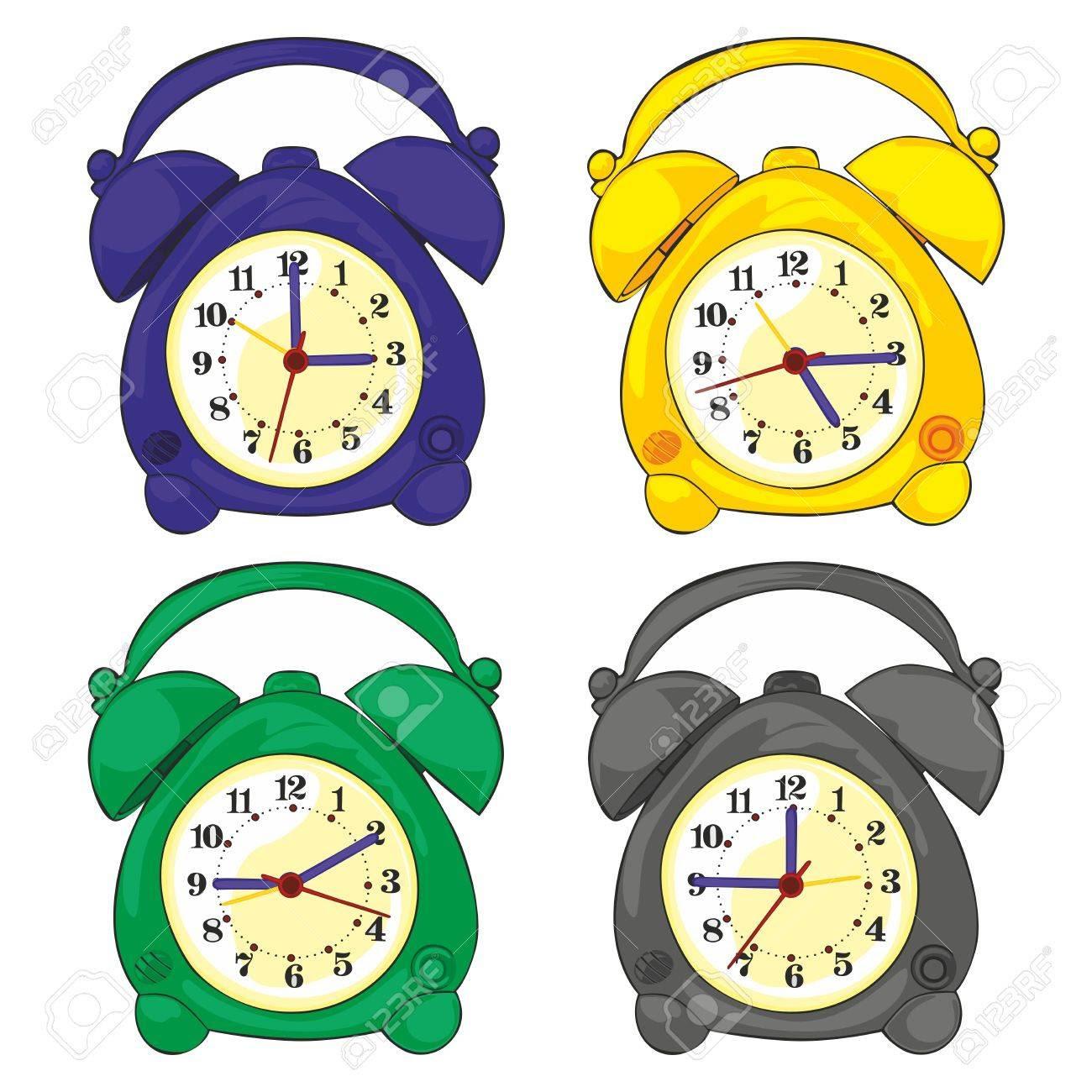 Fully Editable Illustration Of Isolated Clocks Royalty Free ...