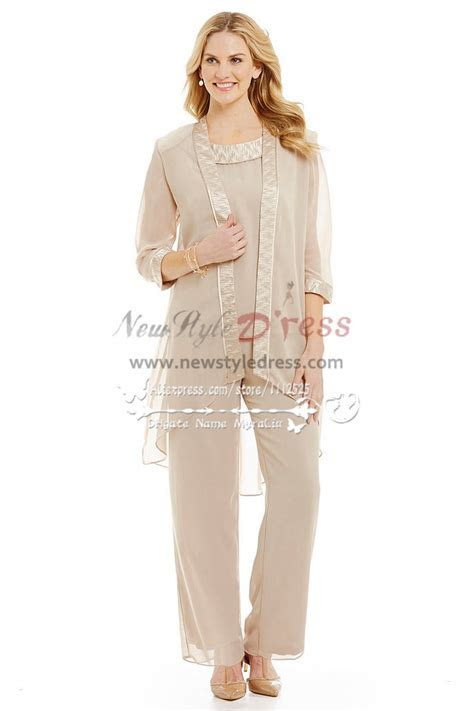 Champagne chiffon outfits for wedding Mother of the bride