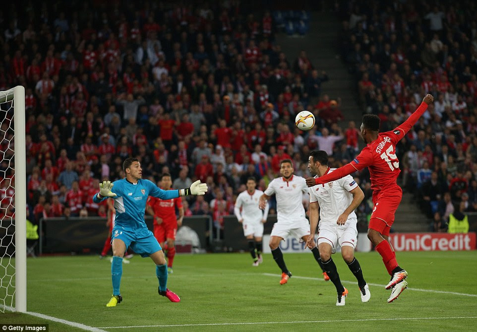 Sturridge (right) meets a cross from Liverpool and England team-mate Nathanial Clyne and head across goal but sees it cleared off the line
