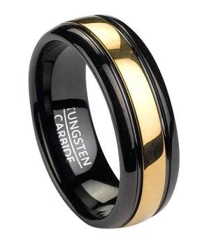 mens black tungsten wedding band  gold tone inlay