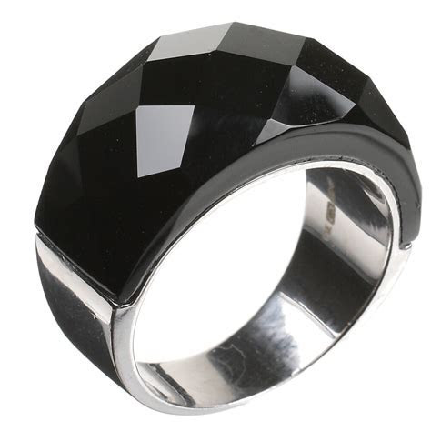 Sterling Silver Ring 925 Black Glass Chunky Faceted Band