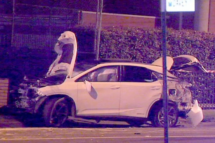 Stolen car damaged in hit-and-run crash at Oakleigh.