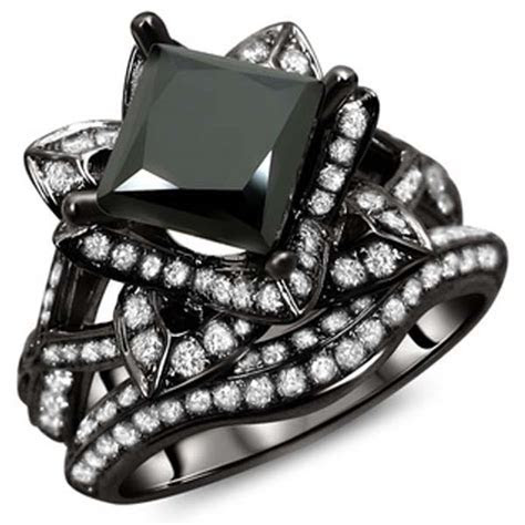 Glamour and Cheap Black Diamond Wedding Ring Sets for