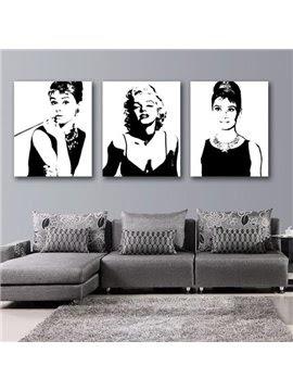 New Arrival Beautiful Marilyn Monroe and Audrey Hepburn Print 3-piece Cross Film Black Wall Art Prints